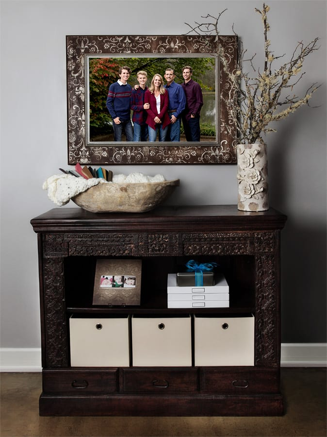 framed family picture wall display