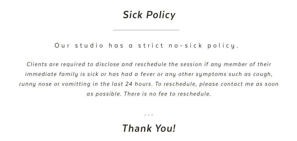 Sick Policy for Susan Willis Photography studio