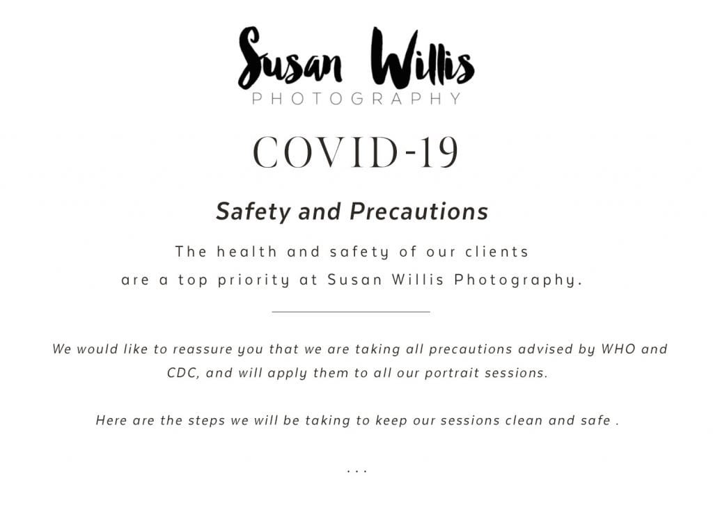 Covid-19 Safety and Precautions for Susan Willis Photography